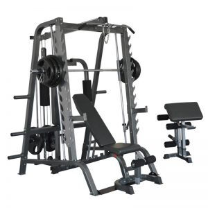 a large strength training workout system with weights and a bench