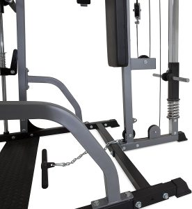weight disc loading area and lower pulley