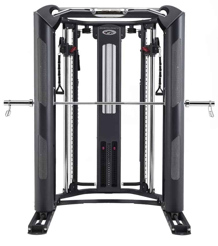 front view of a big resistance training device with a barbell