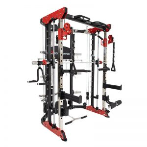 a comprehensive strength training machine with various attachments and exercise options
