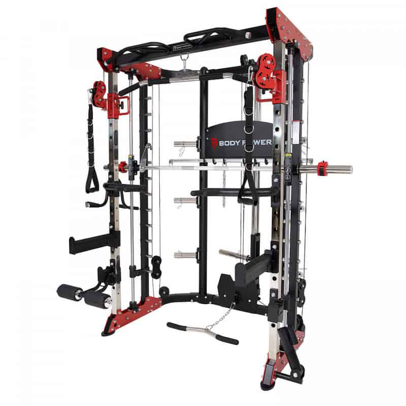 big workout machine with a variety of training stations