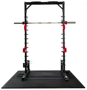 a barbell resting in a gym rack