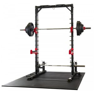 a strength training system with a barbell and weights