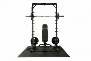 resistance training device with a bench and weights