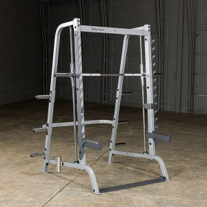 large strength training machine with free weight rack