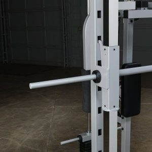 close up of guide rods on a weight machine
