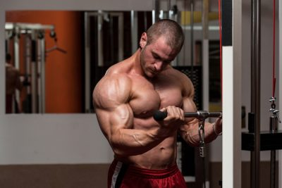 bodybuilder doing cable curls