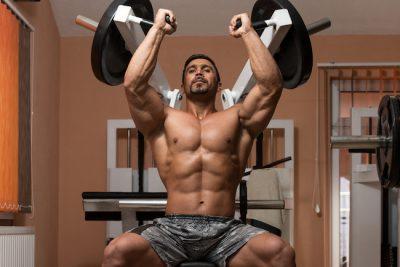 man training his shoulder
