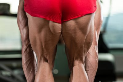 close up of a bodybuilder's hamstrings