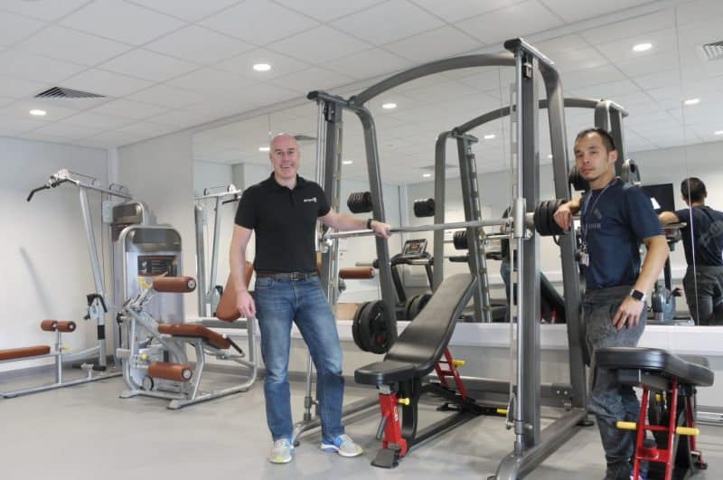 interior of a gym with fitness equipment