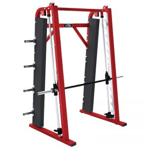 a large red resistance training machine
