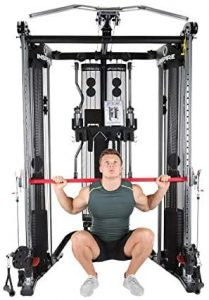 muscular man doing back squats with a bar