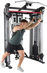 man doing cable tricep extensions