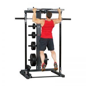bodybuilder doing wide-grip pull-ups