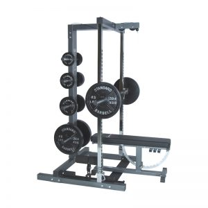 side view of a resistance training machine with weights