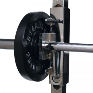 chrome barbell with weight plates