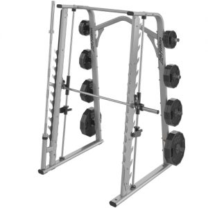 big strength training machine with a squat rack