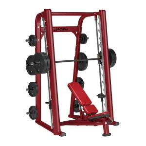 red resistance training machine with weight on the storage pegs