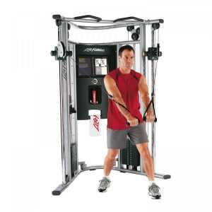 man using a cable machine for resistance training