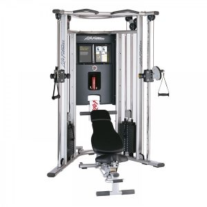 weight training cable machine with a bench
