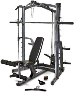 workout machine with various training stations and accessories