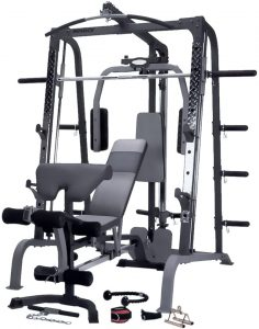big strength training system with various workout attachments