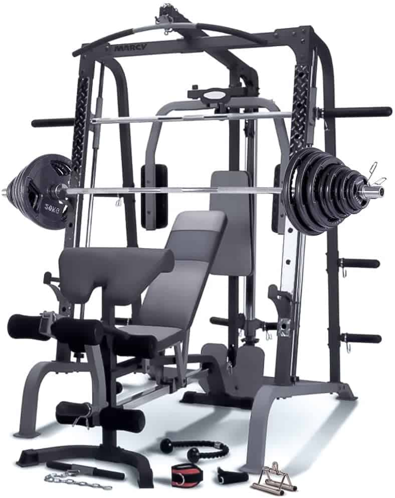 a gym machine with weights on the bar