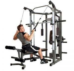 man training his lats on a resistance machine