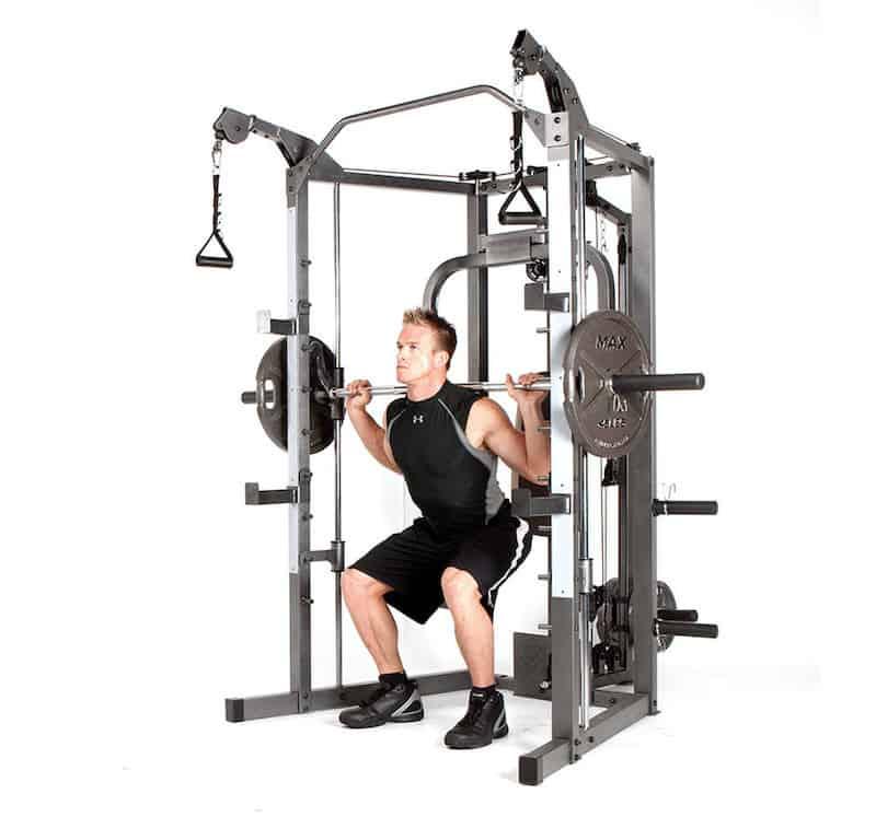 fitness model performing back squats