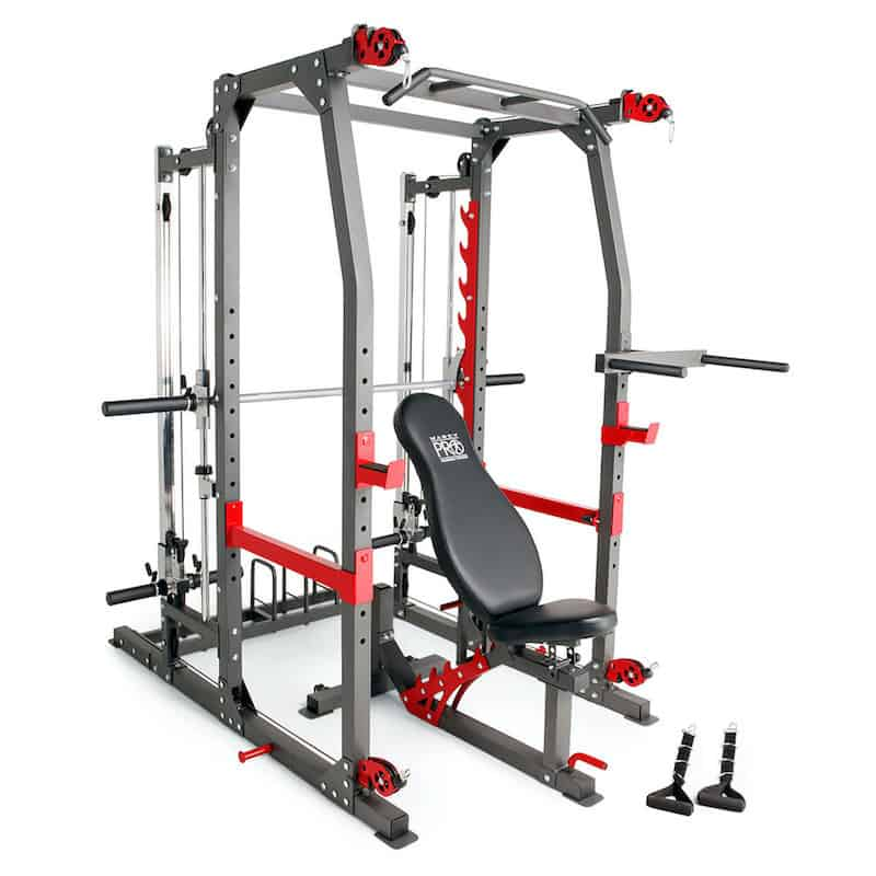 weight training machine with extensive workout stations