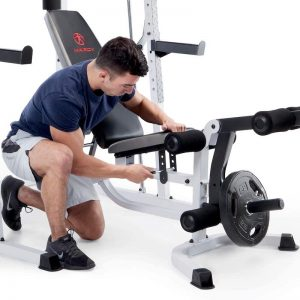 man adjusting a workout bench