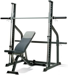 small resistance training machine with a bench and barbell