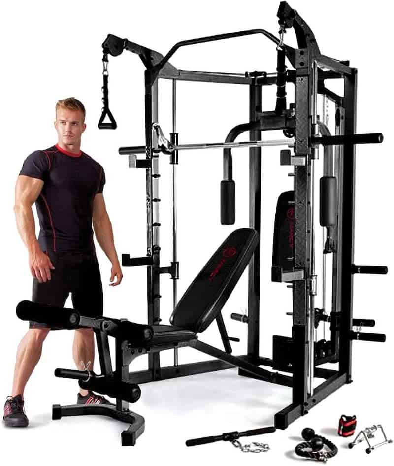 man standing next to a gym machine