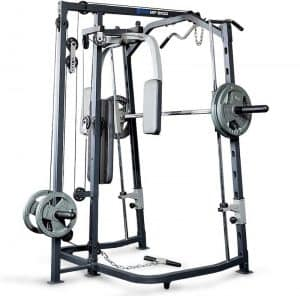 back view of a strength training device with weight plates loaded onto the bar