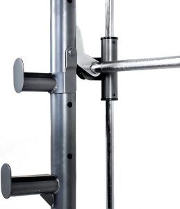 barbell and safety hooks