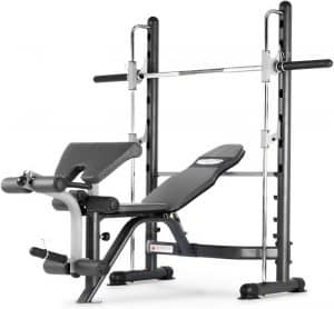 a workout system with a barbell and bench