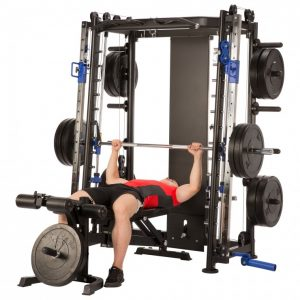man performing a flat bench press