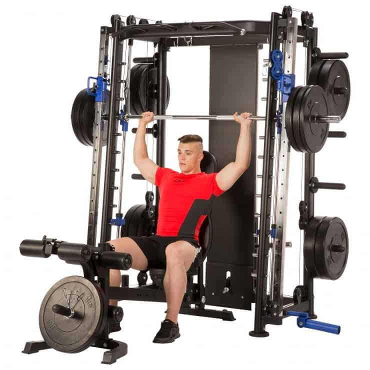 young man doing a shoulder press