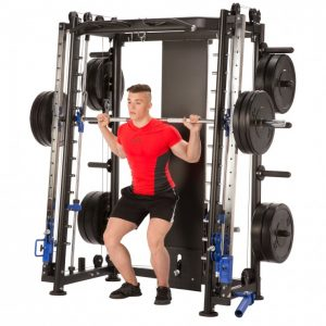 young man doing back squats