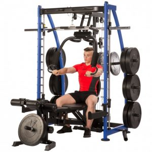 muscular man performing chest presses