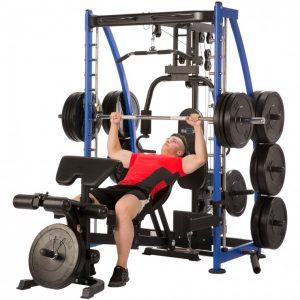 man doing heavy bench presses