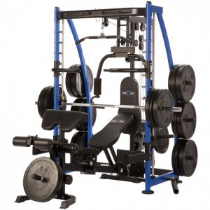 a large strength training system with various workout stations and weight discs