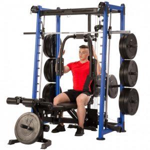 muscular man using a pec dec machine