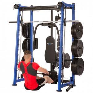 muscular man performing low rows