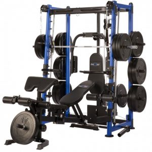 resistance training system with weights and a workout bench