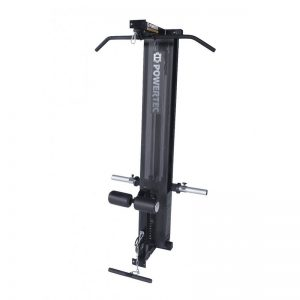 lat pulldown machine with a weight stack and cable attachments