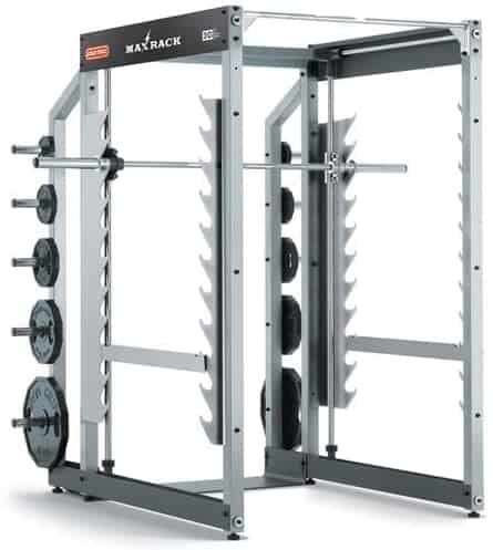 strength training cage with weights and a barbell