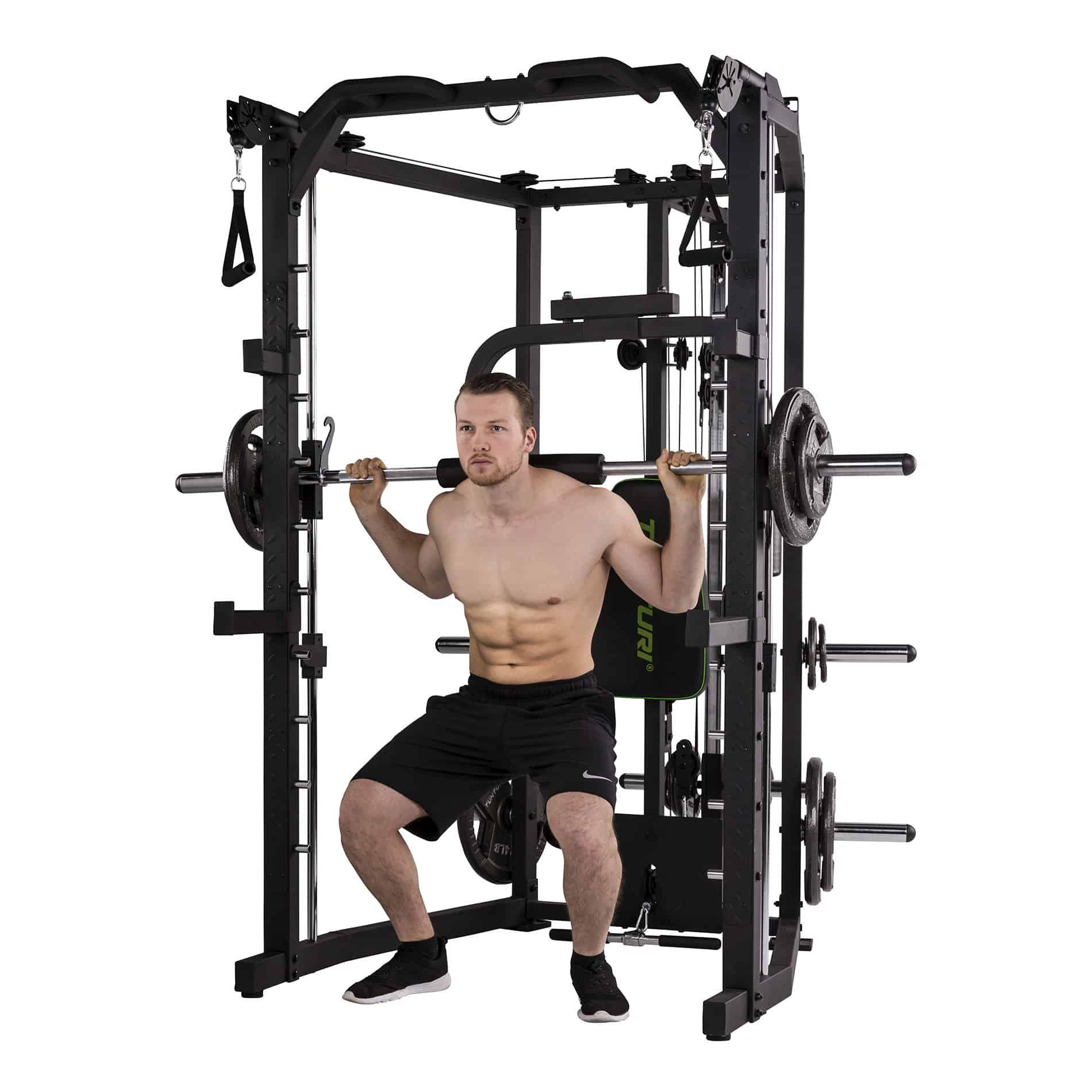 front view of a man dojng squats