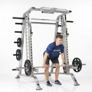 man doing barbell rows out of the free weight rack