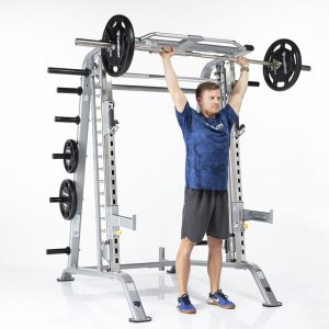 man pressing a heavy barbell over his head